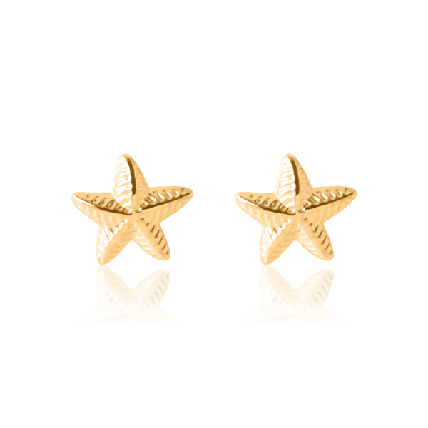 My Little Silver - Twinkly Sea Star Gold Earrings