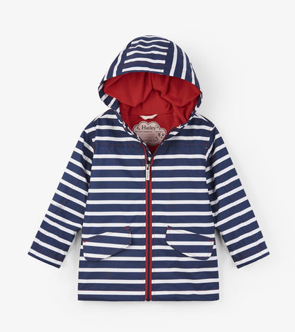 Hatley Rain Jacket - Navy Stripes