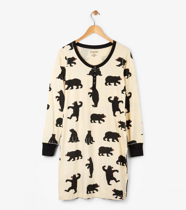 Hatley Night Dress - Black Bears - Eloquence Boutique