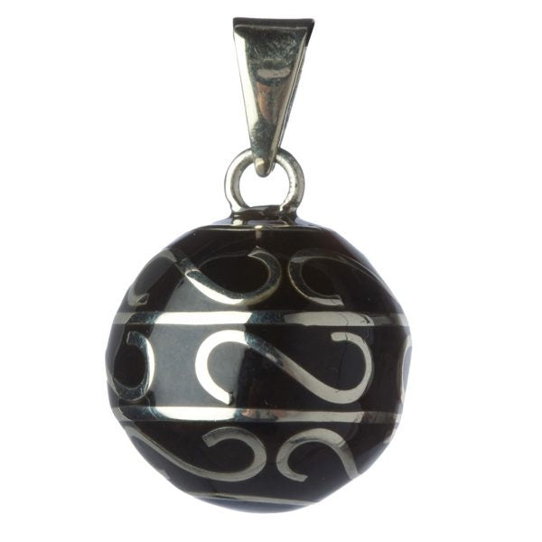 Bola Pendant - Black with Scroll - Eloquence Boutique