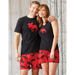 Hatley Womens Boxers - Moose on Red - Eloquence Boutique