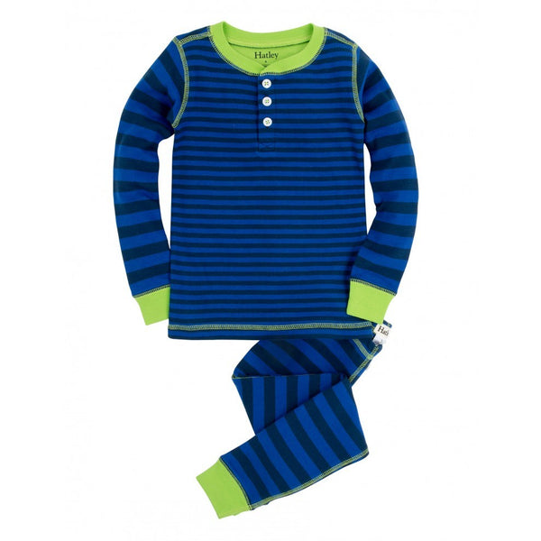 Hatley Pyjamas - Lime & Blue Stripes - Eloquence Boutique