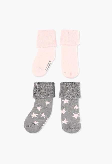 Boboli 2pk Socks - Pink Star - Eloquence Boutique
