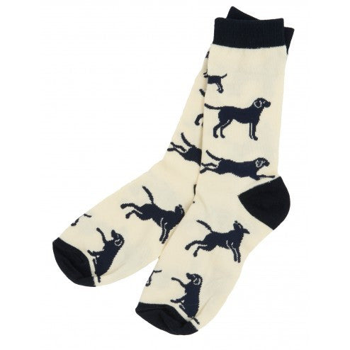 Hatley Womens Crew Socks - Labs on Natural - Eloquence Boutique