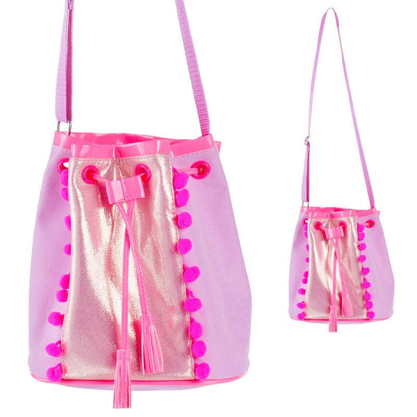 Pink Poppy Drawstring Bag - Lilac Pom Pom - Eloquence Boutique