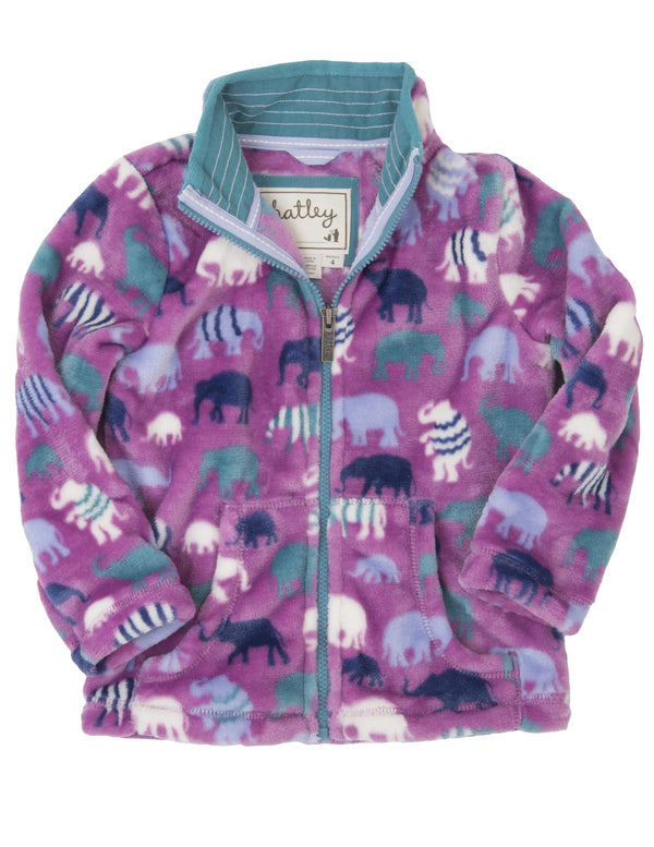 Hatley - Patterned Elephants Fuzzy Fleece Jacket