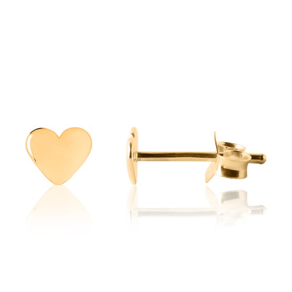 My Little Silver - Shiny Baby Hearts Yellow Gold Earrings