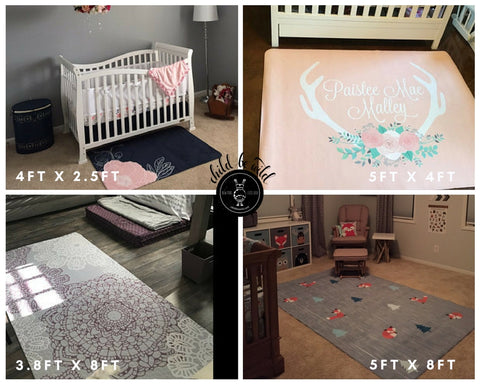 Custom Nursery Rugs- Size Comparison Pictures- Free Shipping In USA