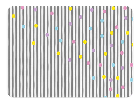 A geometric rug with gray and pink stripes with a sprinkle of yellow, purple, blue and pink polka dots/confetti on the right side top corner of the nursery rug. Perfect for a scandinavian or modern themed nursery for your little one.