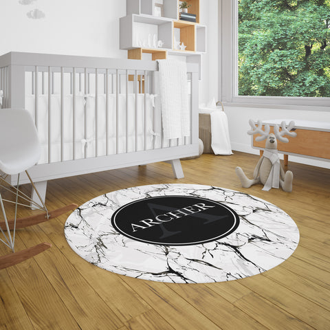 Marble Print Personalized Rug