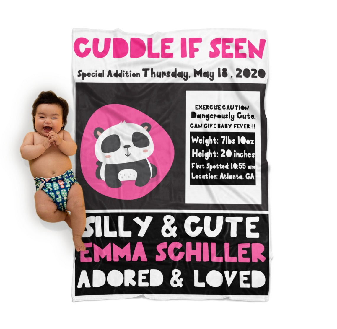 Personalized  Birth Stats Baby Blanket in WANTED poster style layout. Panda themed available in pink & blue. Customize it to your own colours and words!