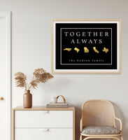 Long Distance Family Gift, Home Map Print, Together Always Wall Art