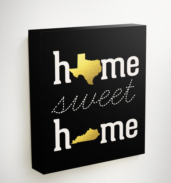 Home Sweet Home Prints or Canvas with Gold States. Pick your states or countries and send them to your loved ones as a gift this christmas