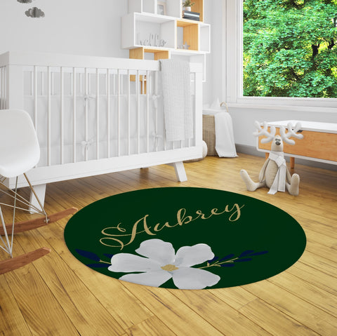 Aubrey Emerald Green & Gold Floral Nursery Rug