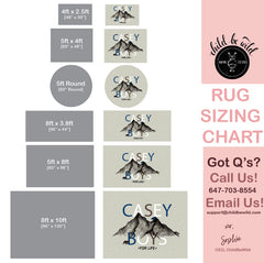 Rustic bear rug sizing chart, showing different sizes it is available in. Great nursery rug, low pile, easy to clean and completely customizable.