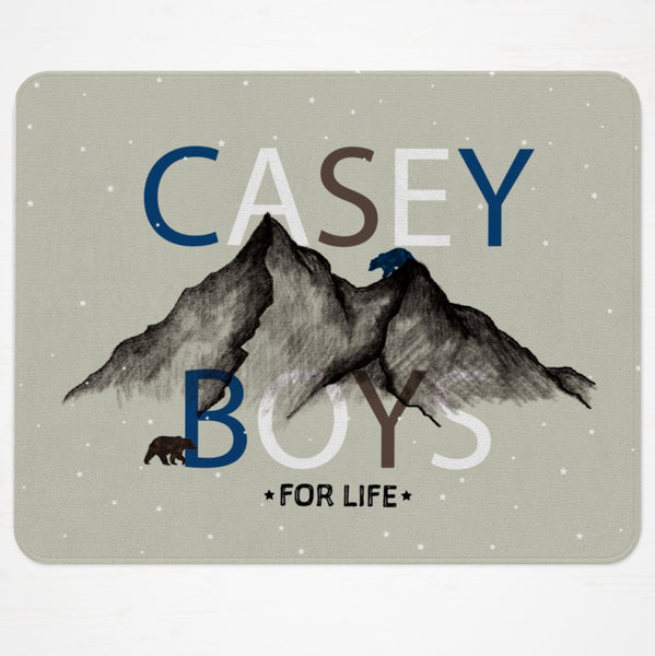 Two bears nursery rug for brothers. Customize text to say anything you like! Free design customizations!