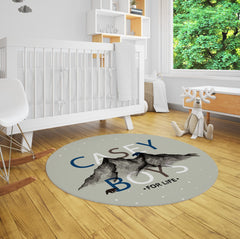 Adventure mountain rustic nursery rug. Casey Boys for life. Customize to your liking!