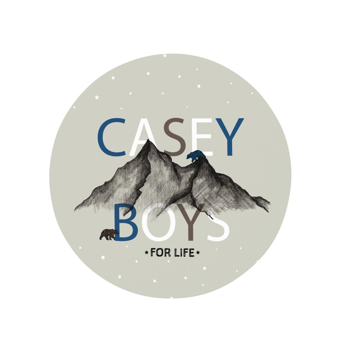 Mountain nursery rug in gray background and stars. Says Casey Boys For Life, Free customization!