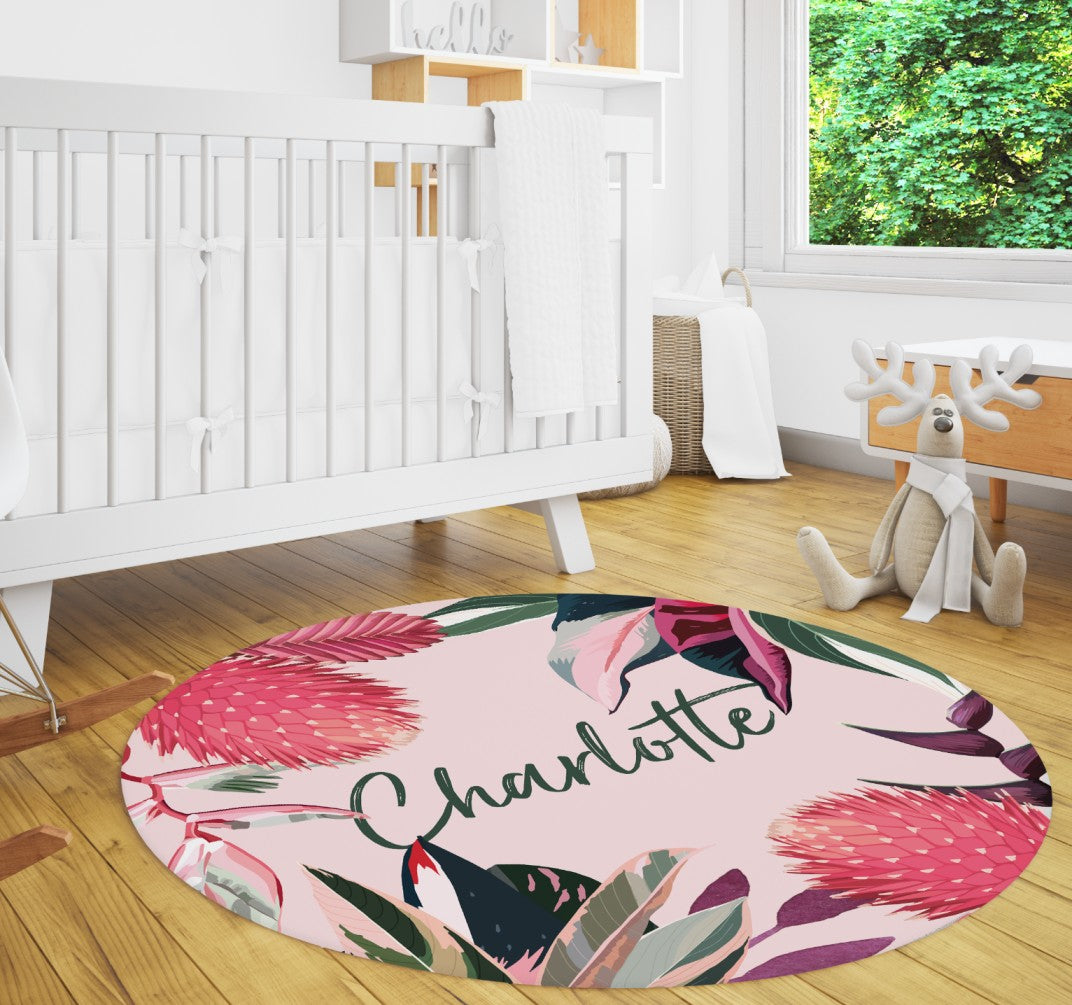 Pink tropical rainforest rug 5ft round with large rainforest plants and flowers. Completely customizable.