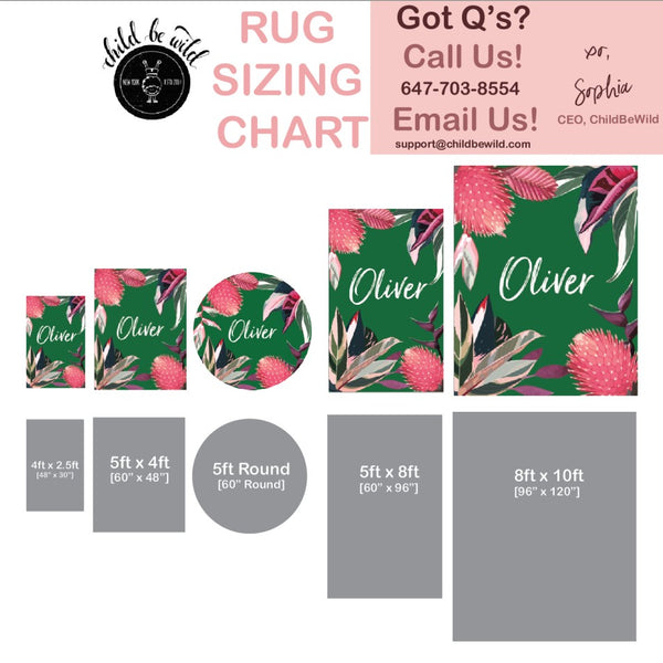 Rug sizing chart showing design in different sizes available. Green tropical rainforest rug with large rainforest plants and flowers.