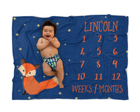 Personalized Fox Milestone Baby Blanket for Woodland Nursery