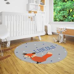 Lincoln Fox Nursery Rug for Woodland Nursery