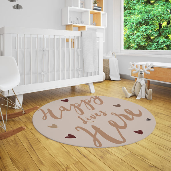 Happy Lives Here Round Kids Rug