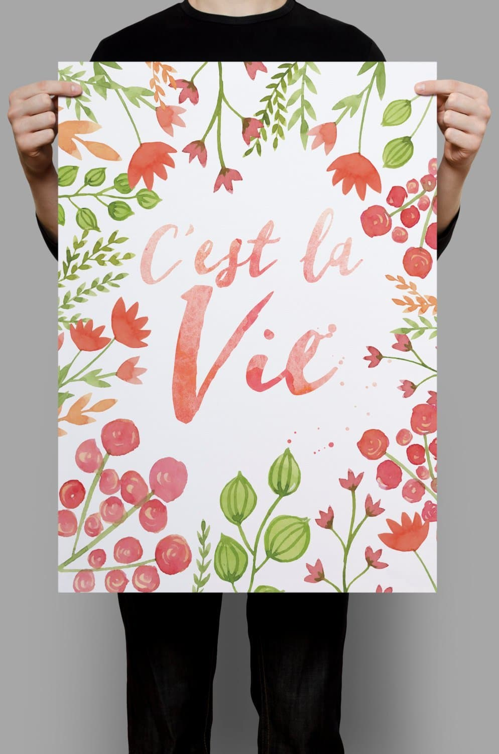 Cest La Vie, French Print, French Quotes, Floral Print Art, Floral Wall Prints, Red Flowers, Leaf Wall Decor, French Art Print, French Art