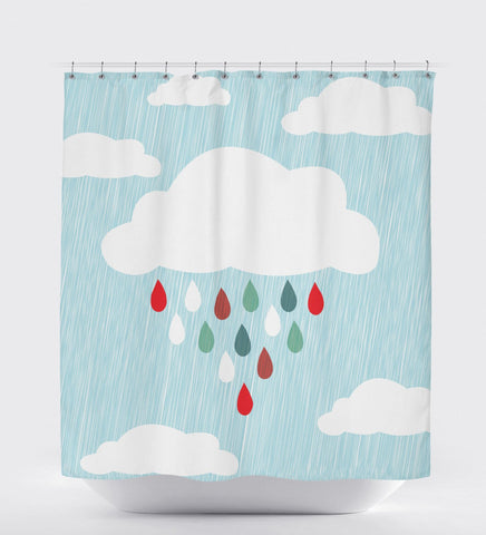 Shower Curtain Kids, Blue Shower Curtain, Rain Cloud, Shower Curtain Nature