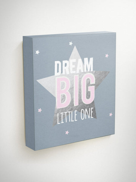 Dream Big Little One Canvas, Inspirational Quote Canvas, Set Of 3 Prints, Baby Shower Gift, Playroom Decor, Gift For Niece, Baby Girl Gift