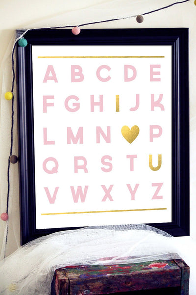Nursery Alphabet, Alphabet Print, Alphabet Wall Art, Gold Nursery Art, Pink and Gold Nursery, Pink and Gold Print, Letter Art Prints, Prints