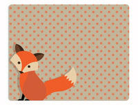 Fox nursery rug, orange fox rug, brown and orange polka dot background