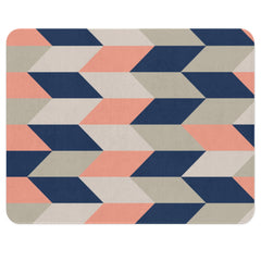 A geometric rug with the herringbone pattern. This neutral rug has different colors such as blush, navy, beige and cream. The color scheme gives it an over all neutral and elegant look. This rectangular rug will add some vintage charm to your child's nursery.