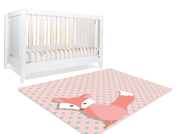 Pink Woodland Rug, Fox nursery rug, pink fox rug, pink and mint polka dot background