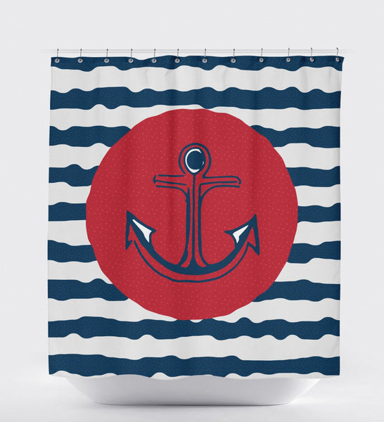 Anchor Shower Curtain, Nautical Shower Curtain, Kids Shower Curtain, Nautical Bathroom Decor