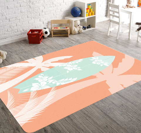 A coral nursery rug featuring a mint surfboard with silhouettes of hibiscus on it.  The rug also has silhouettes of palm trees around it. This rug is perfect for your beach themed nursery or for your kids playroom.