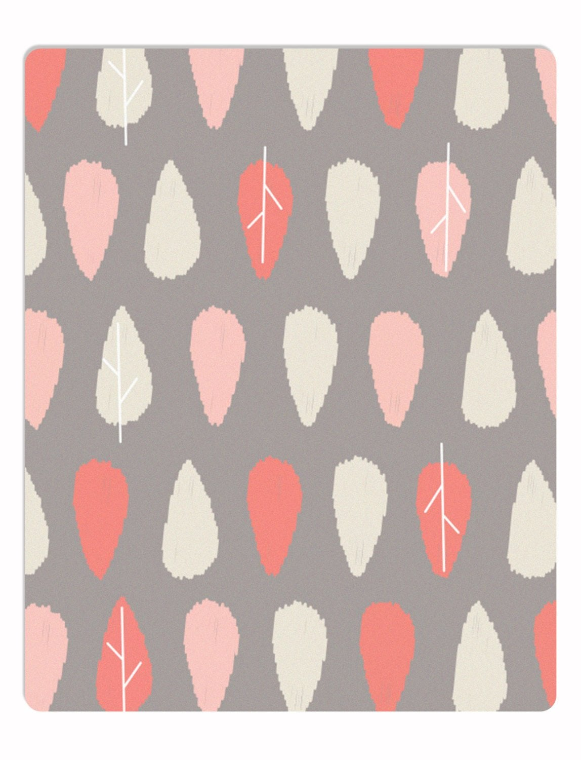 Woodland rug, coral and beige leaves on a cool gray background