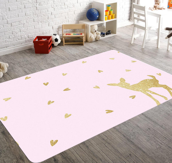 Fawn Nursery, Woodland Rug, Deer Rug, Baby Girl Woodland Nursery