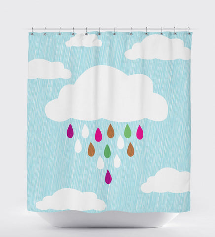 Blue Bathroom Decor, Blue Shower Curtain, Rain Cloud, Shower Curtain Nature