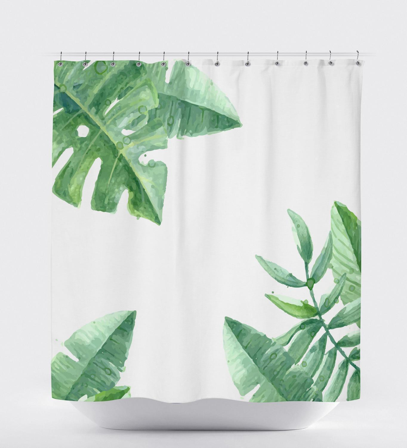 Tropical Shower Curtain, Banana Leaf Shower Curtain, Nature Shower Curtain, Leaf Shower Curtain