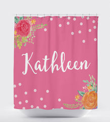 Personalized Shower Curtain, Floral Shower Curtain, Daughter Gift, Kids Shower Curtain