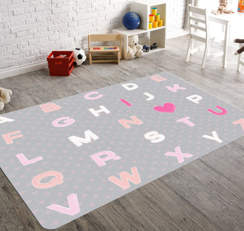 ABC's of Love- Alphabet Nursery, Nursery Rug, Kids Rug, Pink Nursery Rug