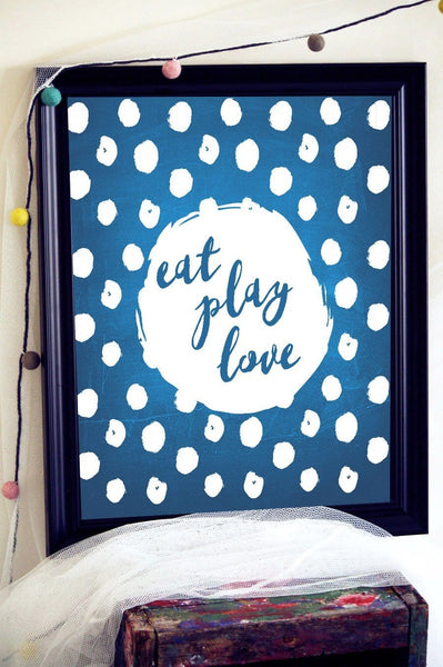 Happy Quotes, Gift For Kids, Blue Art Print, Inspirational Quote Print, New Mom Gift, Gender Neutral Baby Gift, Daycare Gift, Nursery Prints