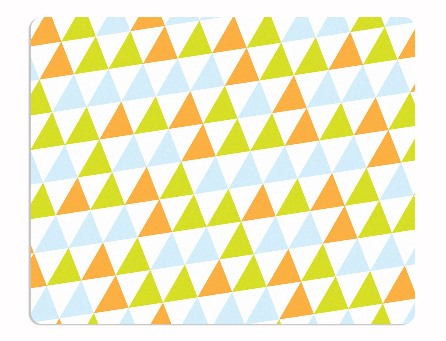 A geometric rug with lime green, orange and pale blue triangles. This nursery rug with a dynamic design will liven up your child's nursery or your teenager's room in an instant.