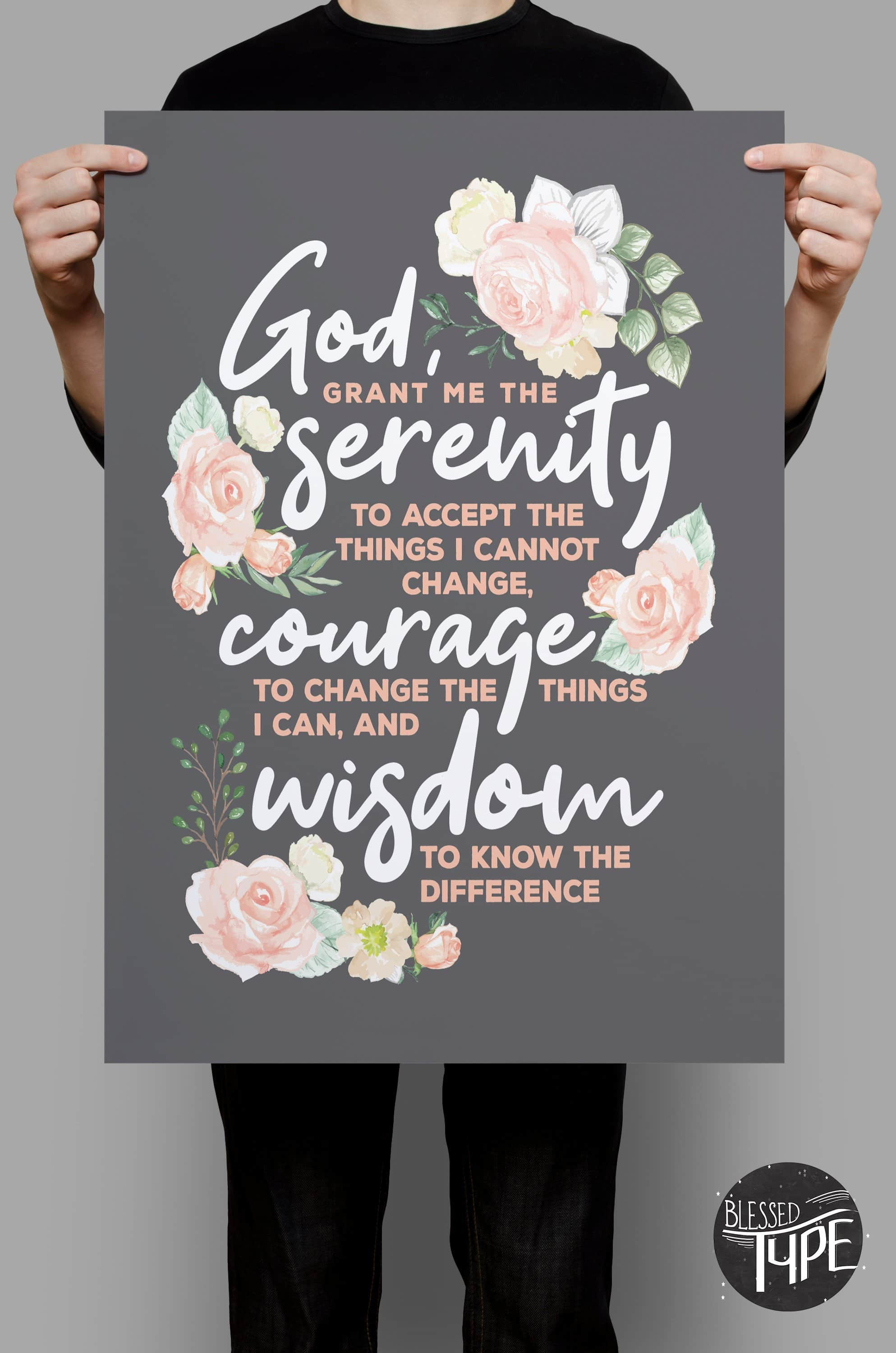 Serenity Prayer Print, Serenity Prayer Poster, Serenity Prints, Serenity Prayer Wall Art, Serenity Prayer Gifts, Gifts for Strength