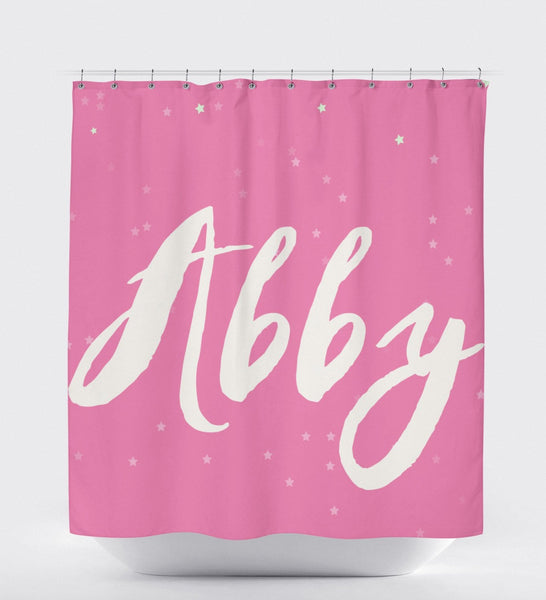 Personalized Shower Curtain, Pink Shower Curtain, Shower Curtain Art, Bath Art