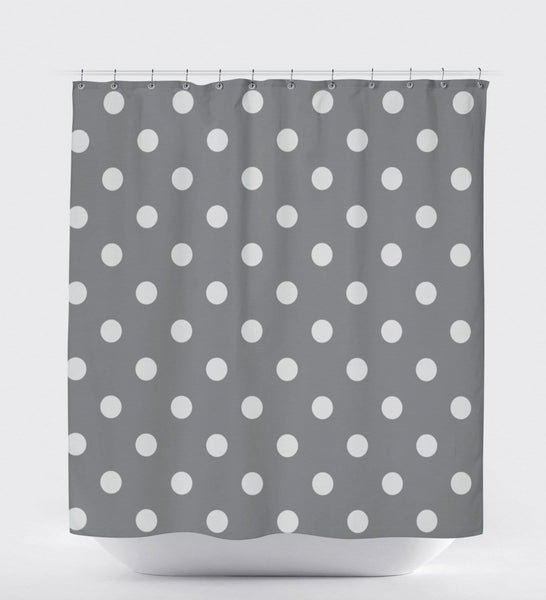 Grey Shower Curtain, Polka Dot Shower Curtain, Made In Usa, Boys Shower Curtain