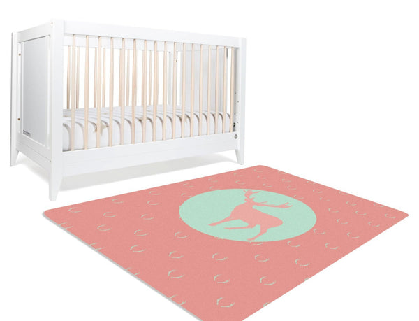 Deer Rug, Fawn Nursery, Deer Antler Decor, Playroom Decor
