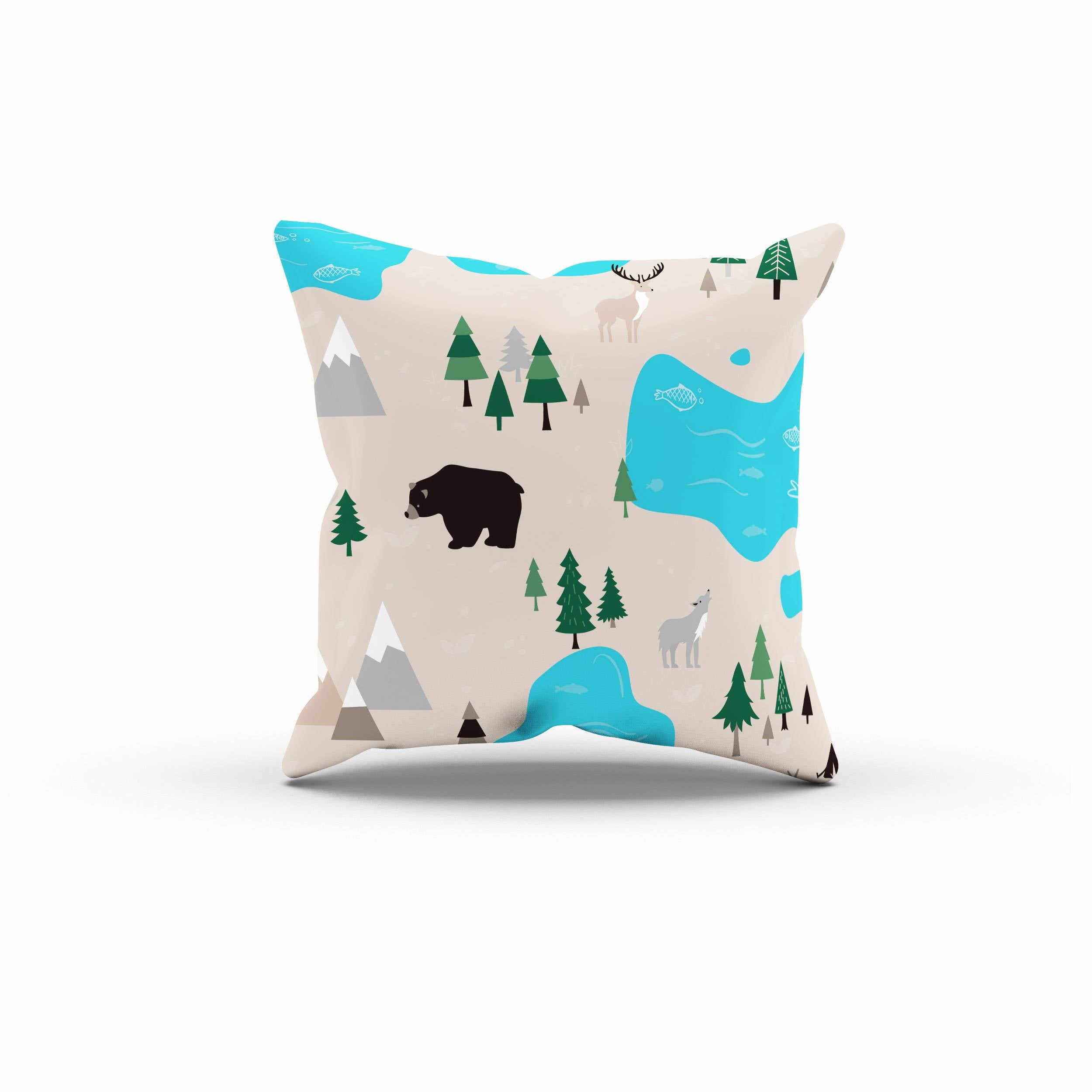 Woodland Pillow, Camping Nursery, Nature Nursery, Mountain Baby Shower