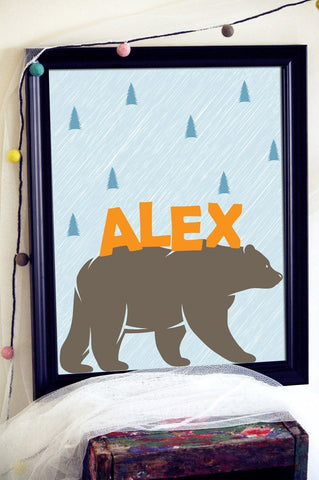Personalised Name Print, Bear Print, Personalised Nursery Art, Bear Nursery Decor, Personalised Christening Gift, Custom Bear, Gift For Kids